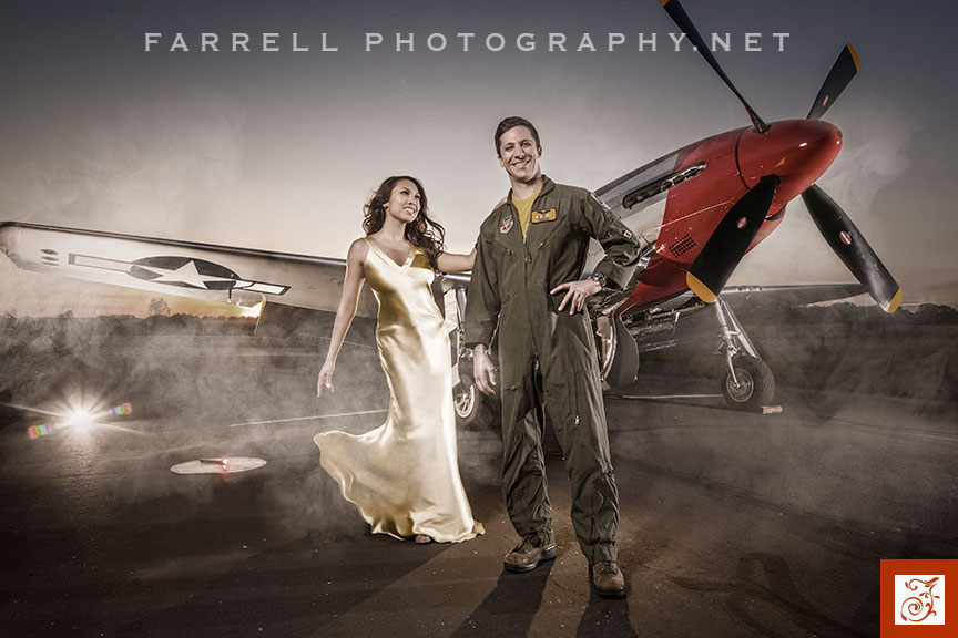 Air-Force-Engagement-Airplane-Pilot-Engagement-Photo-with-P-51-by-Steven-Farrell-of-Farrell-Photography